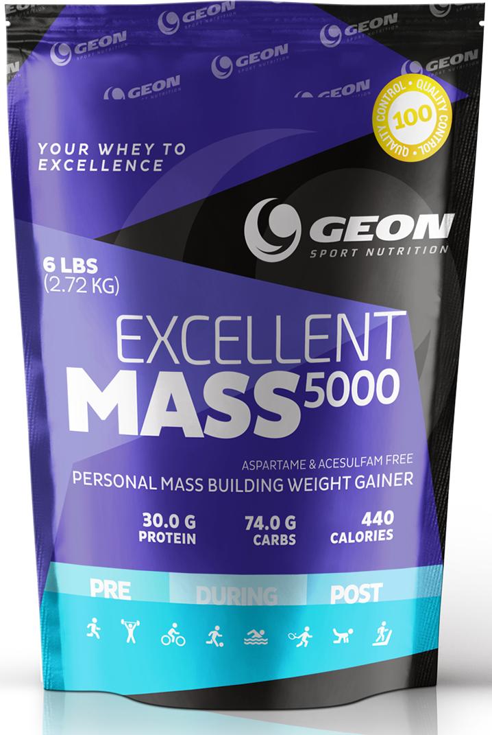 """Гейнер Geon """"Экселлент Масс 5000"""", клубника со сливками, 2,72 кг"""
