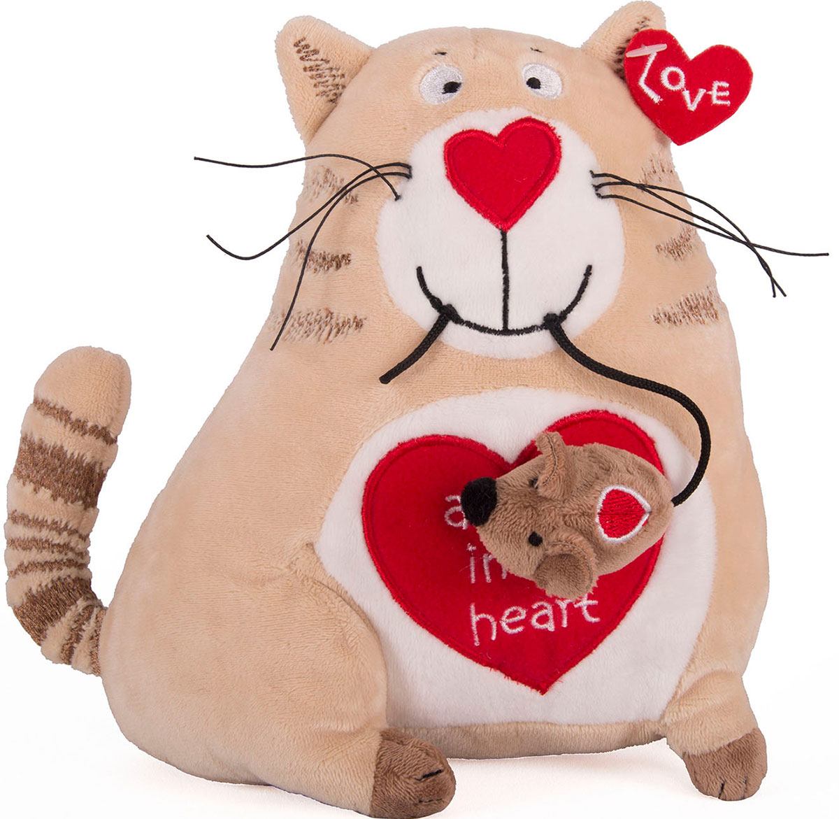Gulliver Мягкая игрушка Кот и мышь Любовь с первого взгляда 20 см - Мягкие игрушки