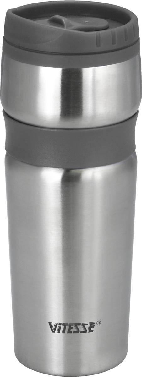 Термокружка Vitesse, цвет: серый, 480 мл. VS-2639VS-2639 СерыйТермокружка с двойными стенками Vitesse выполнена из высококачественнойнержавеющей стали 18/10.Пластмассовый ободок на крышкепозволяет пить прямо из горлышка без боязни обжечься о горячие стенки колбы.Широкое горлышко позволит положить внутрь кусочкильда, чтобы еще дольше сохранить низкую температуру напитка Сохраняет как тепло, так и холод, в течение нескольких часов. Защита от протечек.Термокружка Vitesse будет незаменима на пикнике, в офисе и вавтомобильной поездке.