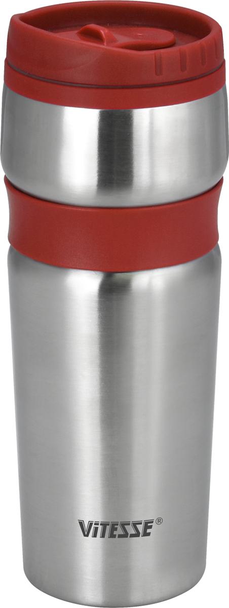 Термокружка Vitesse, цвет: красный, 480 мл. VS-2639VS-2639 Красн.Термокружка, 480 мл из высококачественной н/ст с двойными стенкамиПластмассовый ободок на крышке позволяет пить прямо из горлышка без боязни обжечься о горячие стенки колбыШирокое горлышко позволит положить внутрь кусочки льда, чтобы еще дольше сохранить низкую температуру напиткаСохраняет как тепло, так и холод, в течение нескольких часовЗащита от протечек