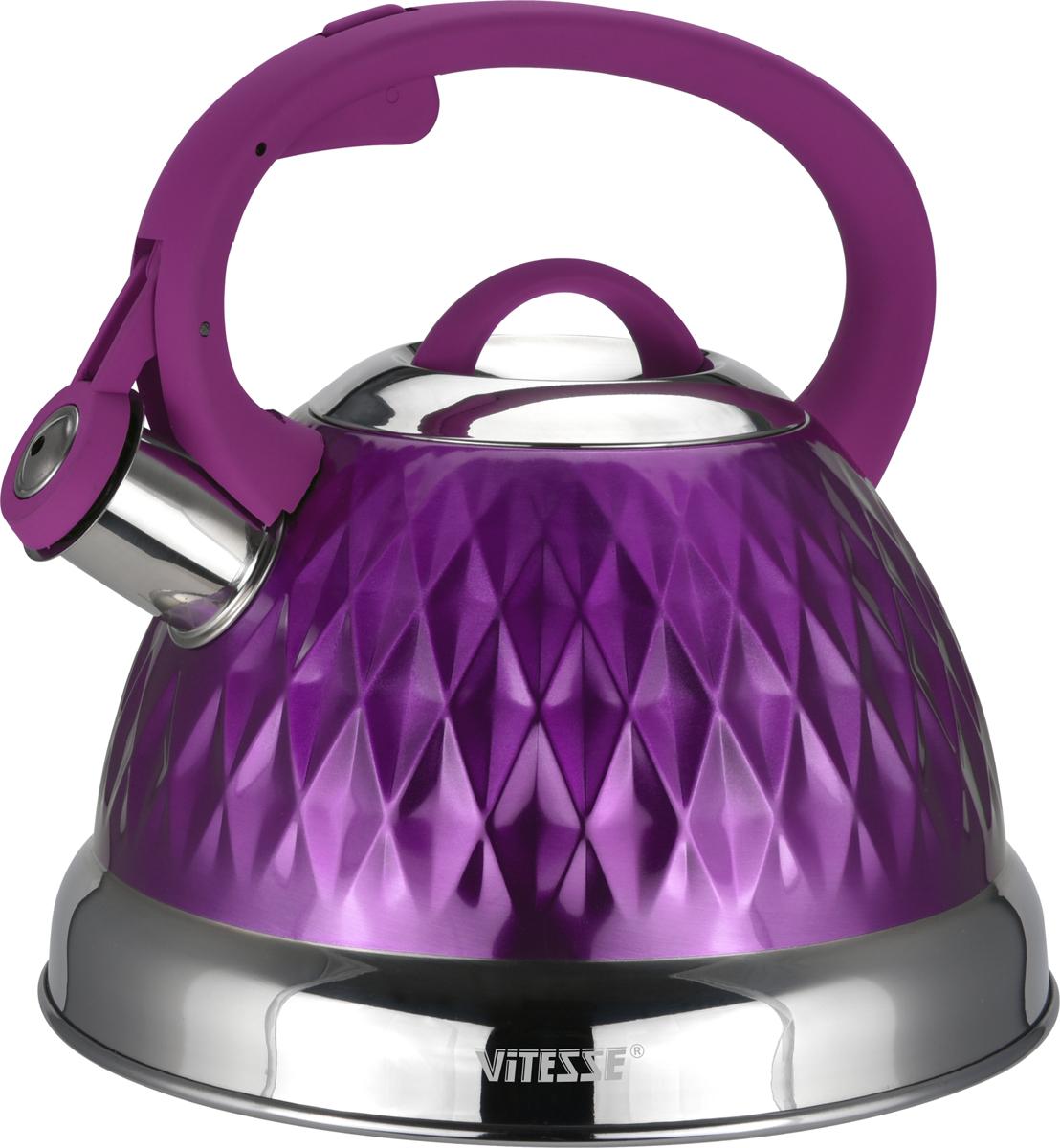 Чайник Vitesse, со свистком, цвет: сиреневый, 2,6 лVS-1122 Сирен.Чайник Vitesse изготовлен извысококачественной нержавеющей стали 18/10.Внешнее цветное термостойкое покрытиекорпуса придает изделию безупречныйвнешний вид. Изделие оснащеноручкой из термостойкого пластика с покрытием Soft-Touch, также имеет откиднойсвисток, громко оповещающий о закипании воды. Можно использовать на газовых, электрических,стеклокерамических, галогенных, индукционныхплитах. Можно мыть в посудомоечной машине.