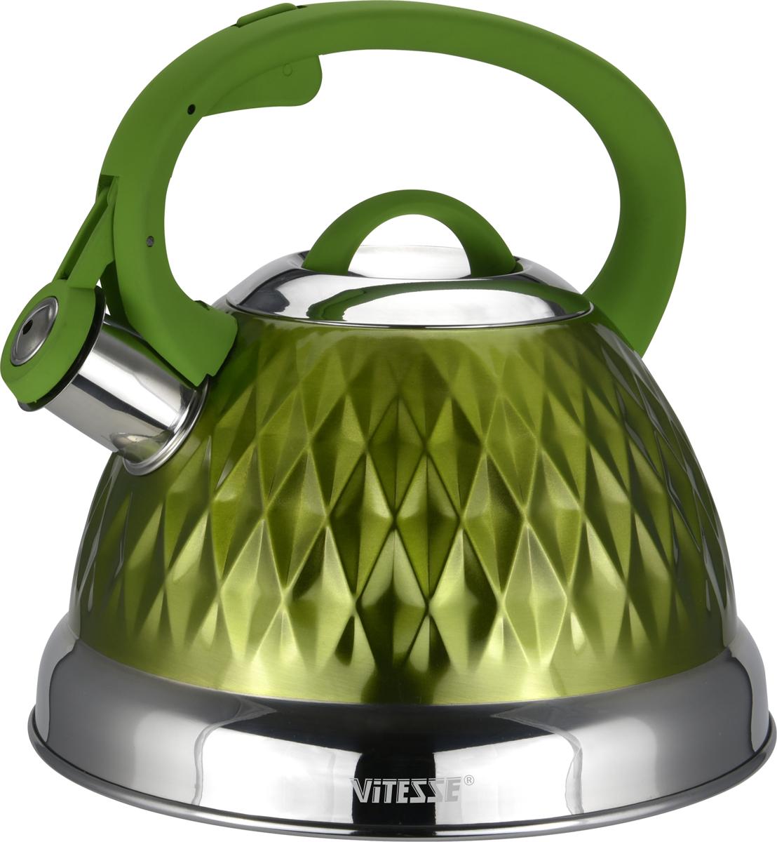 Чайник Vitesse, со свистком, цвет: зеленый, 2,6 л