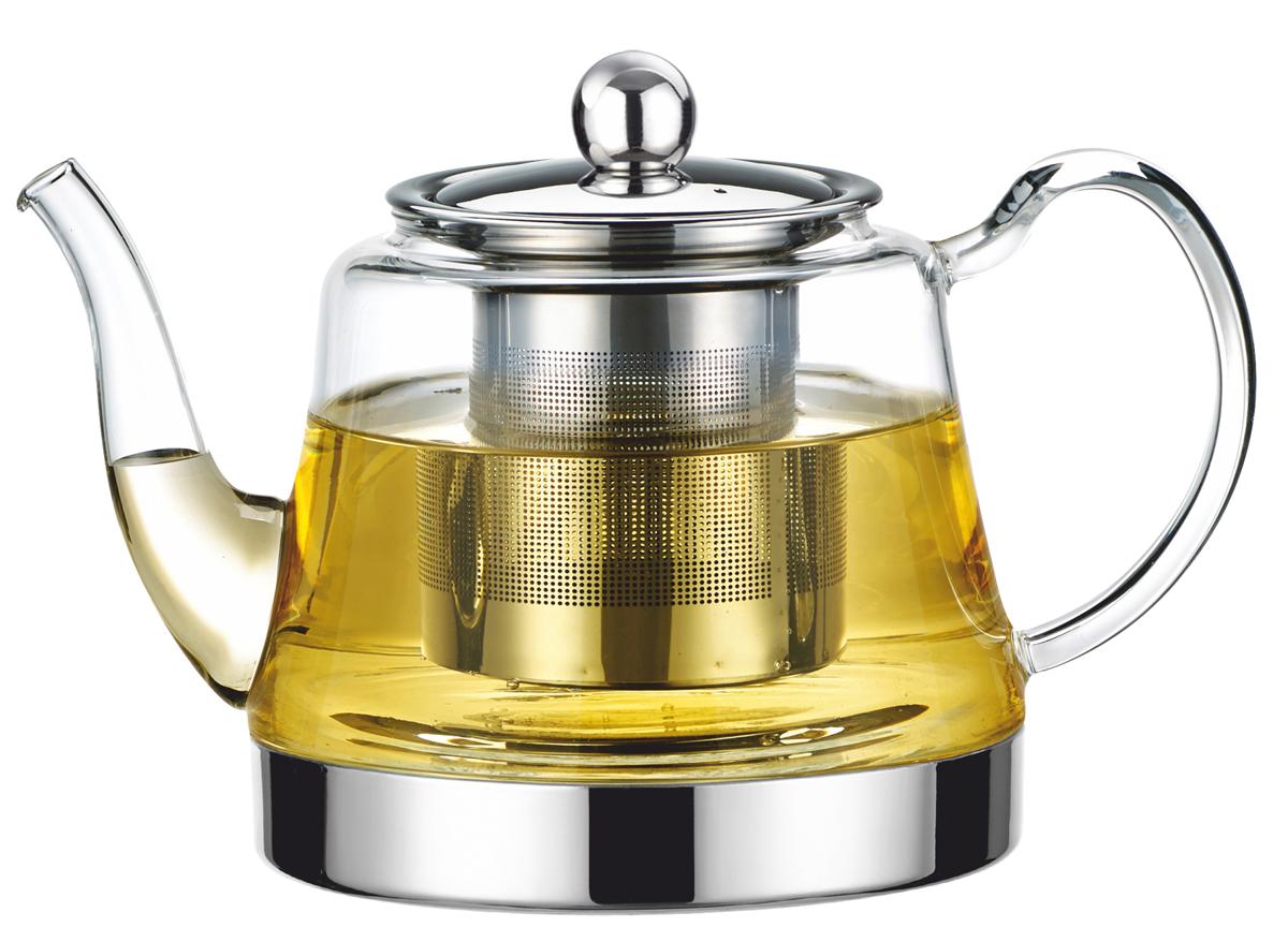"""Заварочный чайник """"Vitesse"""" станет достойным и функциональным аксессуаром вашей кухни. Он  изготовлен из жаростойкого стекла. Изделия из стекла не впитывают запахи, благодаря чему вы  всегда получите натуральный, насыщенный вкус и аромат напитков.  Фильтр, выполненный из  нержавеющей стали, гарантирует прозрачность и чистоту напитка от чайных листьев, при этом  сохранив букет и насыщенность чая.  Ручка чайника выполнена из жаропрочного стекла. Крышка выполнена из нержавеющей стали. Прозрачные стенки чайника дают возможность  насладиться  насыщенным цветом заваренного чая.  Подходит для мытья в посудомоечной машине.   Объем чайника: 900 мл."""