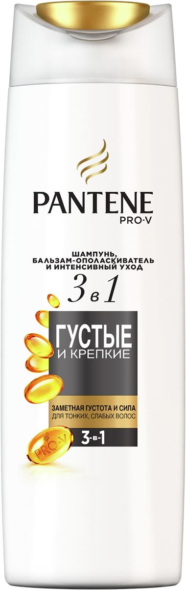 Pantene Pro-V Шампунь, бальзам-ополаскиватель и интенсивный уход 3в1 Густые и Крепкие, 360 млPT-81664686Шампунь Pantene Pro-V «Густые и крепкие » 3в1 + кондиционер + интенсивный уход очищает, облегчает расчесывание и восстанавливает волосы за одно применение. Заряжает волосы активными питательными веществами Pro-V. Мгновенно делает волосы более густыми и крепкими.