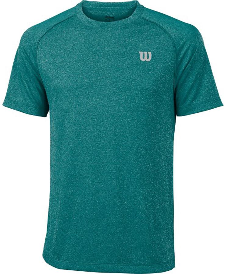 Футболка для тенниса мужская Wilson Core Crew, цвет: зеленый. WRA746407. Размер S (46)WRA746407Стильная мужская футболка для тенниса Wilson Core Crew, выполненная из качественного материала, обладает высокой теплопроводностью, воздухопроницаемостью игигроскопичностью и великолепно отводит влагу, оставляя тело сухим даже вовремя интенсивных тренировок. Такая футболка превосходно подойдет длязанятий спортом и активного отдыха.Модель с короткими рукавами и круглым вырезом горловины - идеальный вариантдля занятий спортом. Такая футболка обеспечит свободу движений. Эргономичные швы минимизируют натирание кожи, исключая дискомфорт.Такая футболка подарит вам комфорт в течение всей игры и послужит замечательным дополнением к вашему гардеробу.