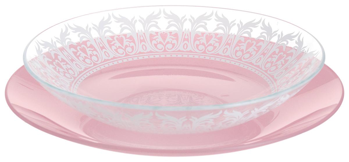 Набор тарелок глубокая NiNaGlass, цвет: розовый, диаметр 25 см, 2 шт. 85-225-144пср85-225-144псрНабор тарелок NiNaGlass Кружево и Палитра выполнена из высококачественного стекла, декорирована под Вологодское кружево и подстановочная тарелка яркий насыщенный цвет. Набор идеален для подачи горячих блюд, сервировки праздничного стола, нарезок, салатов, овощей и фруктов. Он отлично подойдет как для повседневных, так и для торжественных случаев. Такой набор прекрасно впишется в интерьер вашей кухни и станет достойным дополнением к кухонному инвентарю.