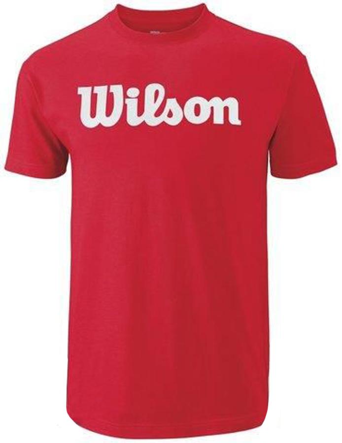 Футболка для тенниса мужская Wilson Script Cotton Tee, цвет: красный. WRA747808. Размер M (48)WRA747808Стильная мужская футболка для тенниса Wilson Script Cotton Tee, выполненная из качественного материала, обладает высокой теплопроводностью, воздухопроницаемостью игигроскопичностью и великолепно отводит влагу, оставляя тело сухим даже вовремя интенсивных тренировок. Такая футболка превосходно подойдет длязанятий спортом и активного отдыха.Модель с короткими рукавами и круглым вырезом горловины - идеальный вариантдля занятий спортом. Такая футболка обеспечит свободу движений. Эргономичные швы минимизируют натирание кожи, исключая дискомфорт.Такая футболка подарит вам комфорт в течение всей игры и послужит замечательным дополнением к вашему гардеробу.