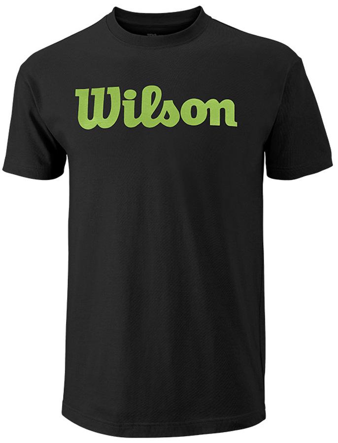 Футболка для тенниса мужская Wilson Script Cotton Tee, цвет: черный. WRA747810. Размер S (46)WRA747810Стильная мужская футболка для тенниса Wilson Script Cotton Tee, выполненная из качественного материала, обладает высокой теплопроводностью, воздухопроницаемостью игигроскопичностью и великолепно отводит влагу, оставляя тело сухим даже вовремя интенсивных тренировок. Такая футболка превосходно подойдет длязанятий спортом и активного отдыха.Модель с короткими рукавами и круглым вырезом горловины - идеальный вариантдля занятий спортом. Такая футболка обеспечит свободу движений. Эргономичные швы минимизируют натирание кожи, исключая дискомфорт.Такая футболка подарит вам комфорт в течение всей игры и послужит замечательным дополнением к вашему гардеробу.