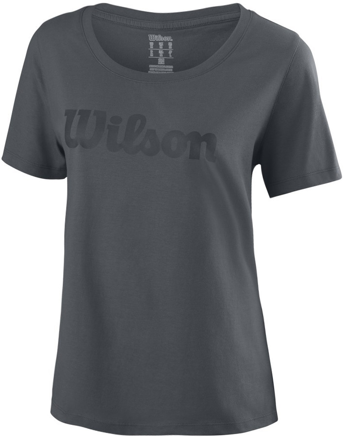 Футболка для тенниса женская Wilson Script Cotton Tee, цвет: темно-серый. WRA758206. Размер S (44) худи для тенниса мужское wilson cover up цвет бирюзовый wra760901 размер s 46
