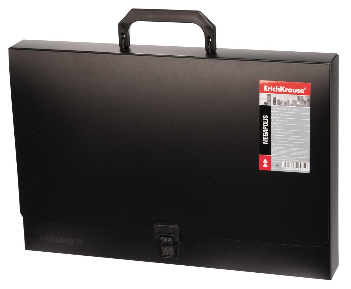 Erich Krause Папка-портфель Megapolis цвет черный14435Легкая папка-портфолио изготовлена из жесткого пластика, рассчитана на длительный срок службы. Папка служит для перевозки документов и имеет традиционную форму портфеля.