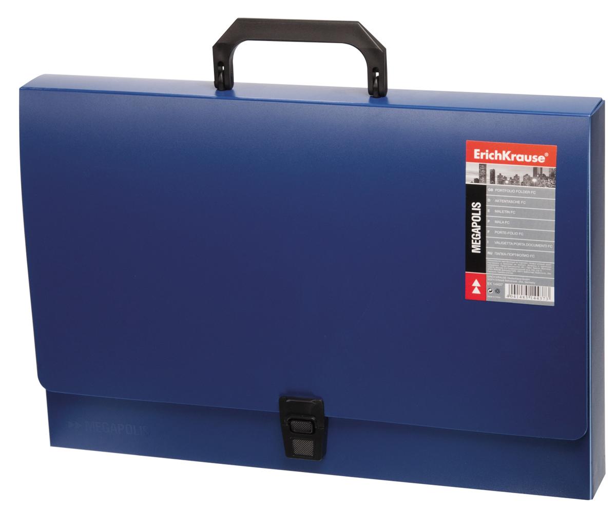 Erich Krause Папка-портфель Megapolis цвет синий14437Легкая папка-портфолио изготовлена из жесткого пластика, рассчитана на длительный срок службы. Папка служит для перевозки документов и имеет традиционную форму портфеля.