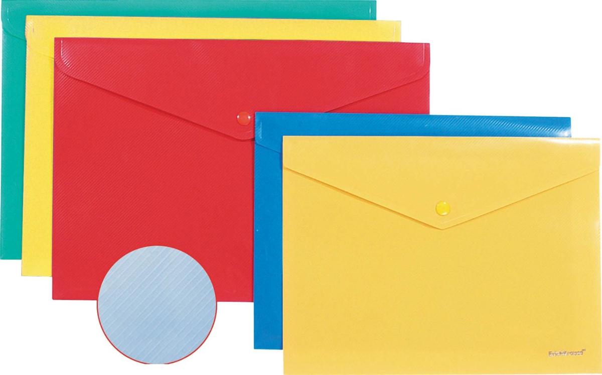 Erich Krause Папка-конверт на кнопке формат А4 цвет синий 4292442924Папка-конверт на кнопке используется для каждодневной работы с бумагами: для хранения, передачи и транспортировки документов. Документы надежно защищены от повреждений, пыли и влаги. Практичная застежка-кнопка удобна для частого использования и обеспечивает быстрый доступ к бумагам. Папка из прозрачного материала используется для наглядного хранения документов.Формат А4;цвет - синий; толщина - 0,18 мм; материал - полипропилен; тиснение - диагональ; вместимость листов -100; тип замка - кнопка