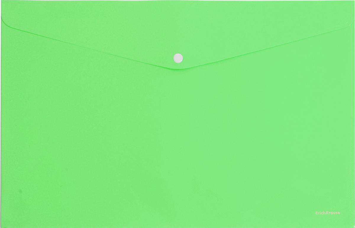 Erich Krause Папка-конверт на кнопке формат А4 цвет салатовый 4293042930Папка-конверт на кнопке используется для каждодневной работы с бумагами: для хранения, передачи и транспортировки документов. Документы надежно защищены от повреждений, пыли и влаги. Практичная застежка-кнопка удобна для частого использования и обеспечивает быстрый доступ к бумагам. Папка из прозрачного материала используется для наглядного хранения документов.Формат А4;цвет - салатовый; толщина - 0,18 мм; материал - полипропилен; тиснение - диагональ; вместимость листов -100; тип замка - кнопка