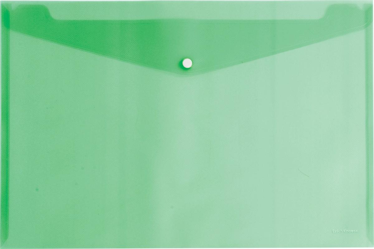 Erich Krause Папка-конверт на кнопке формат А4 цвет зеленый 4293542935Папка-конверт на кнопке Erich Krause - удобный и практичный офисный инструмент,предназначенный для хранения и транспортировки рабочих бумаг и документов формата А4.Папка изготовлена из прозрачного пластика. Практичная застежка-кнопка удобнадля частого использования и обеспечивает быстрый доступ к документам. С такой папкойваши документы всегда будут в полном порядке!