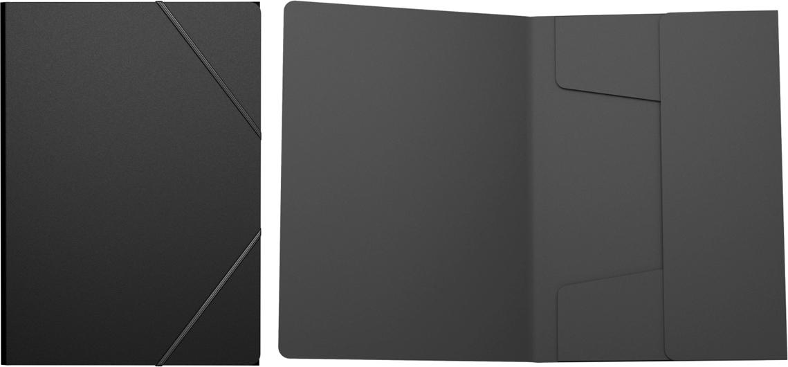 Erich Krause Папка на резинках Classic формат A4 цвет черный43092Пластиковая папка на резинках хорошо подходит для хранения и транспортировки документов. Три клапана папки надежно защищают документы от внешнего воздействия. Формат А4; дизайн Classic; цвет - чёрный; толщина - 0,4мм; материал - полипропилен; тиснение - песок; тип фиксации - резинка; ширина корешка - 5мм.