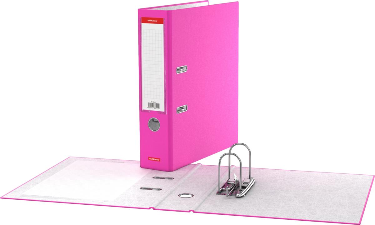 Erich Krause Папка-регистратор с арочным механизмом Neon 70 мм формат А4 цвет розовый45399Папка - регистратор формата А4 снабжена стальным арочным механизмом с никелевым покрытием. Изготовлена из плотного картона толщиной 2 мм, покрытого бумагой со структурным тиснением и водоотталкивающей поверхностью. Корешок папки шириной 70 мм оснащен прозрачным пластиковым карманом со сменной этикеткой для маркировки. Для удобства использования на корешке имеется металлическое кольцо для захвата. Металлические фиксаторы удерживают папку в закрытом виде даже при максимальном наполнении. Вместительность до 450 листов бумаги плотности 80 г/м2. На форзаце есть шаблон для оглавления. Коллекция представлена в ярких неоновых цветах.