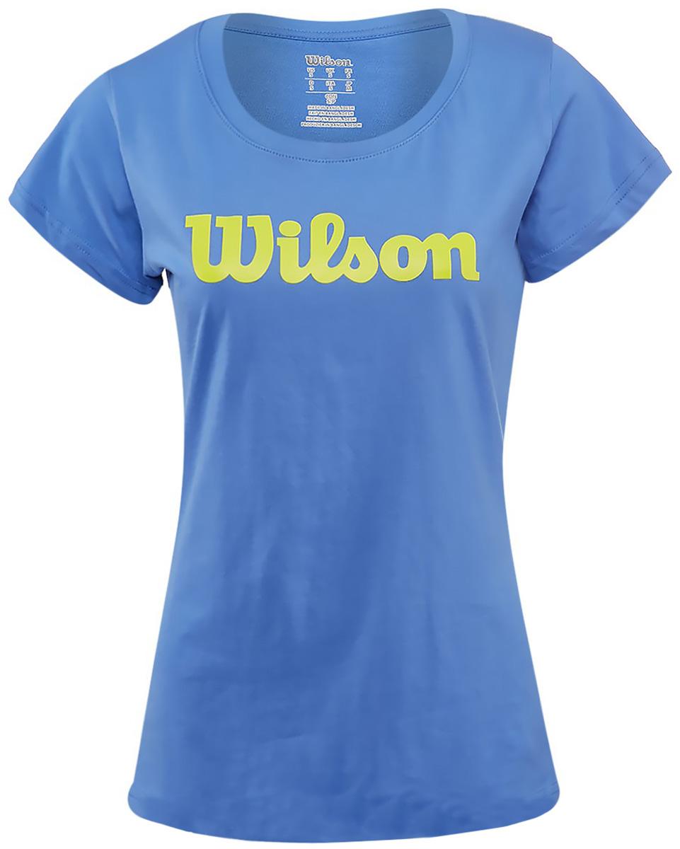 Футболка для тенниса женская Wilson Script Cotton Tee, цвет: синий. WRA758209. Размер M (46/48)WRA758209Тренировочная футболка с логотипом Wilson. Спортивный крой для оптимального комфорта. Модель выполнена с круглой горловиной и короткими рукавами.