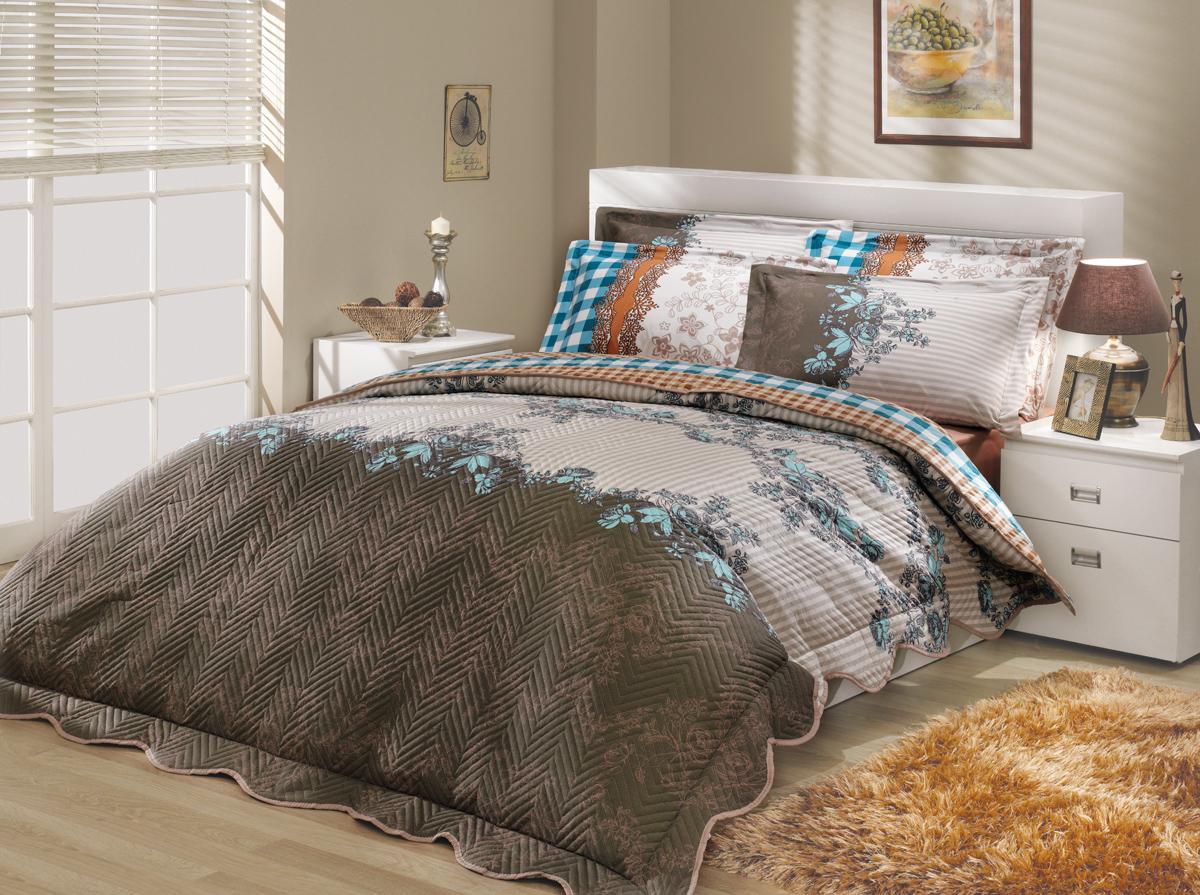 Комплект белья Hobby Home Collection Delfina-Derena, с покрывалом, евро, наволочки 50x70, 70х70 комплекты белья linse комплект белья