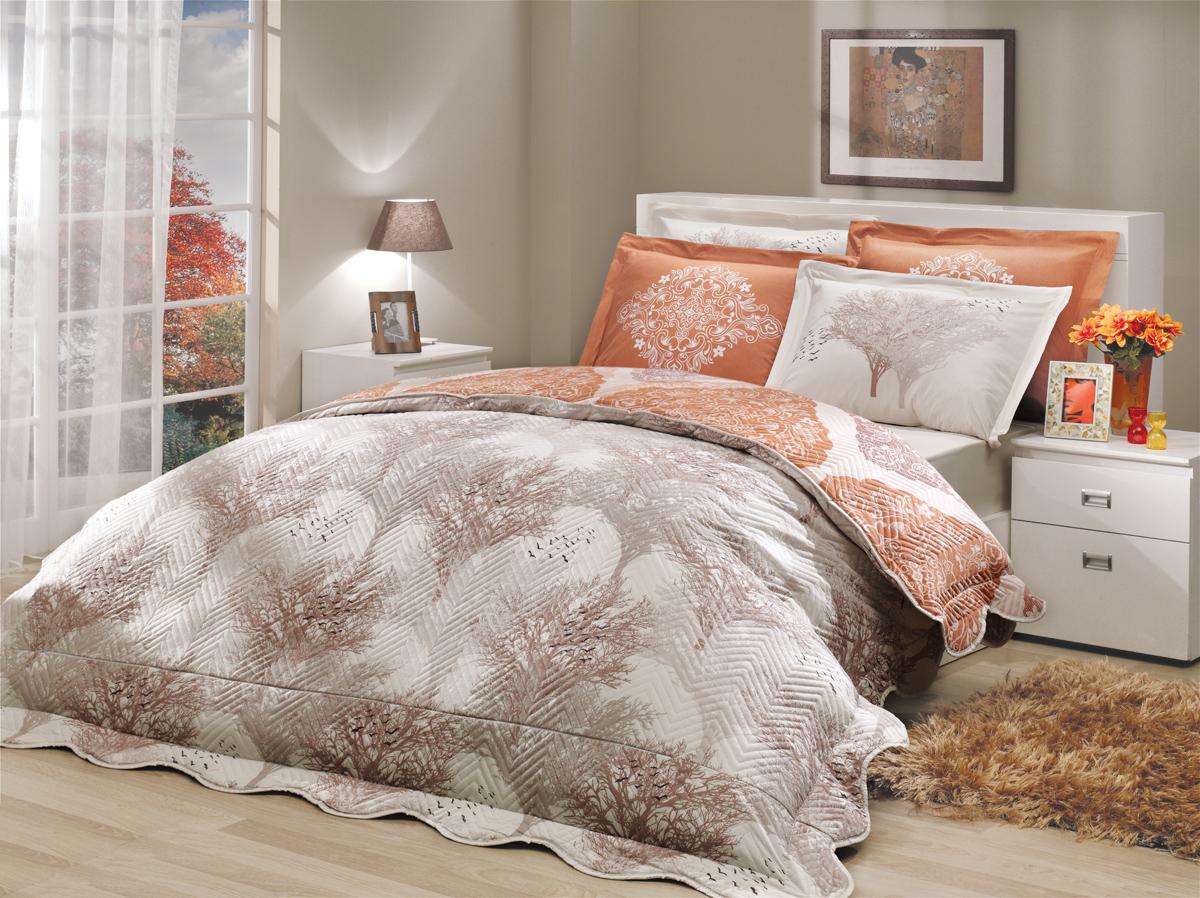 Комплект белья Hobby Home Collection Juillet-Amanda, с покрывалом, евро, наволочки 50x70, 70х70 комплекты белья linse комплект белья