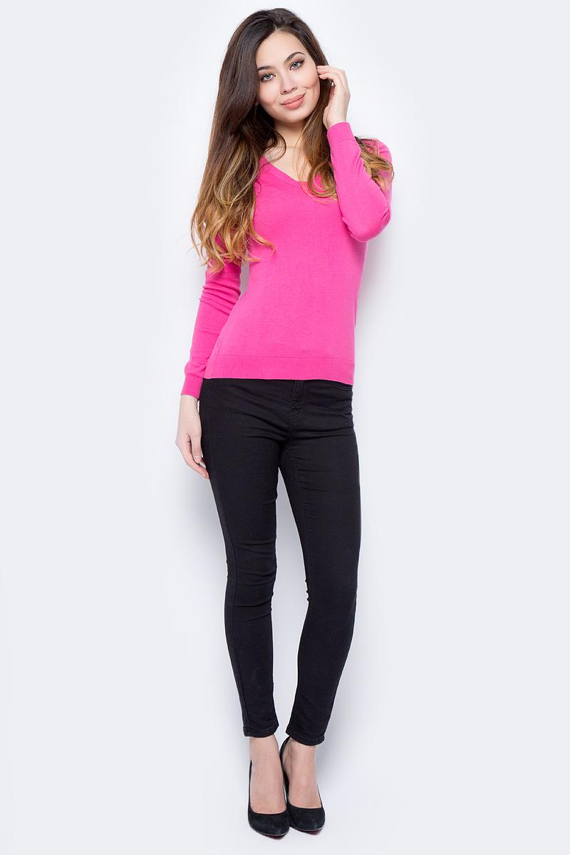 Пуловер женский Sela, цвет: ярко-розовый. JR-114/692-8182. Размер L (48)JR-114/692-8182Пуловер женский Sela выполнен из натурального хлопка. Модель с V-образным вырезом горловины и длинными рукавами.