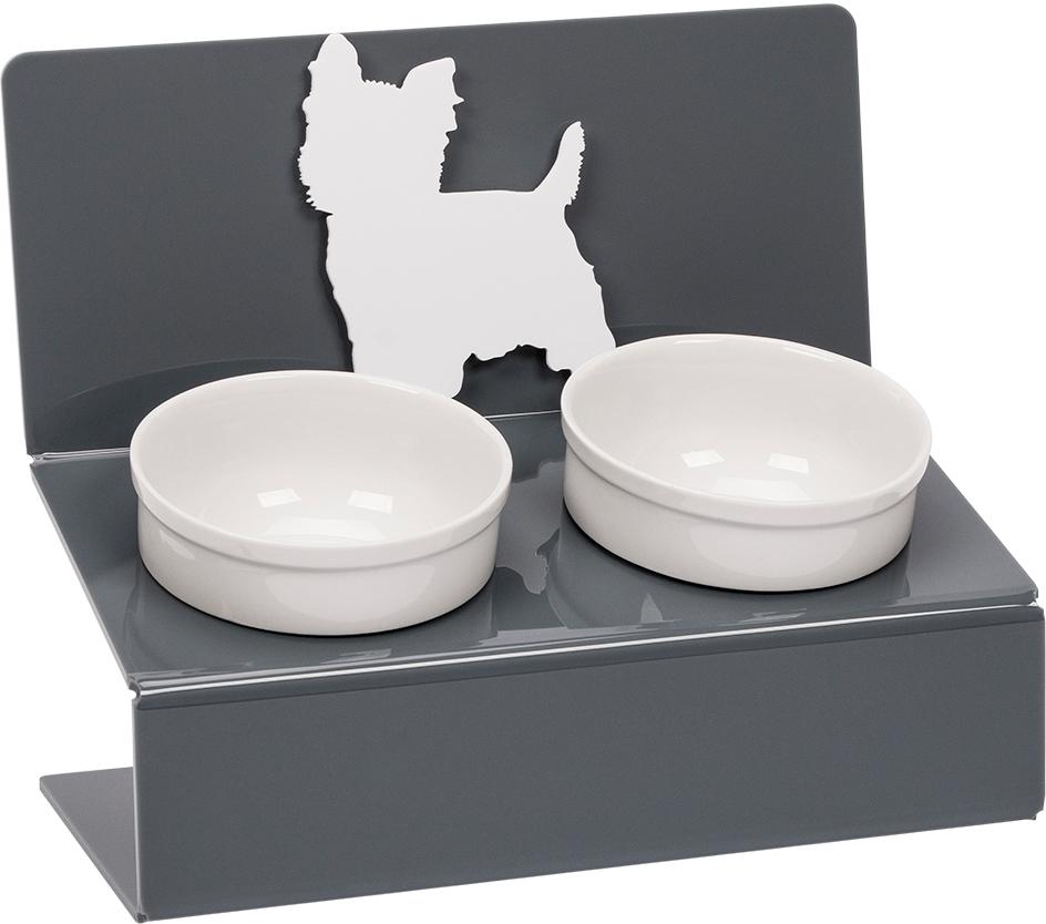 Миска для животных Artmiska  Йорк , двойная, на подставке, цвет: серый, 2 x 350 мл - Аксессуары для кормления
