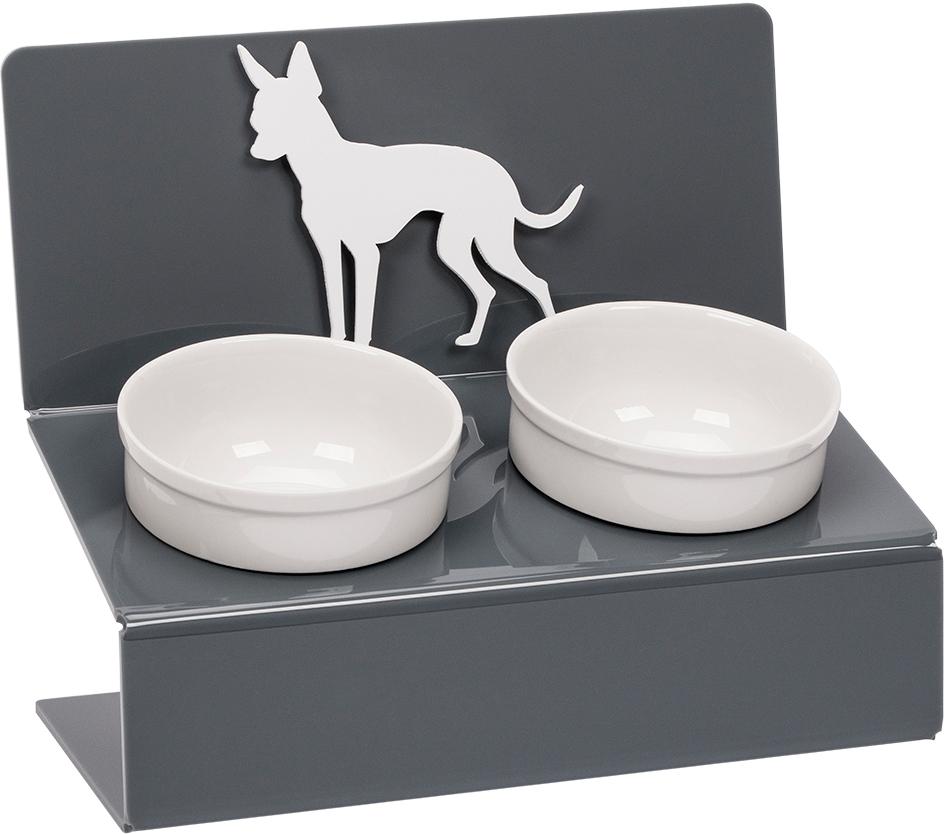 Миска для животных Artmiska  Той терьер , двойная, на подставке, цвет: серый, 2 x 350 мл - Аксессуары для кормления