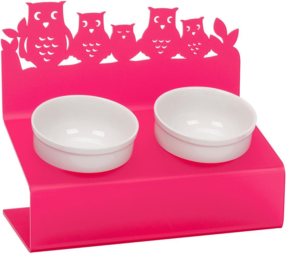 Миска для животных Artmiska  Совы , двойная, на подставке, цвет: малиновый, 2 x 350 мл - Аксессуары для кормления
