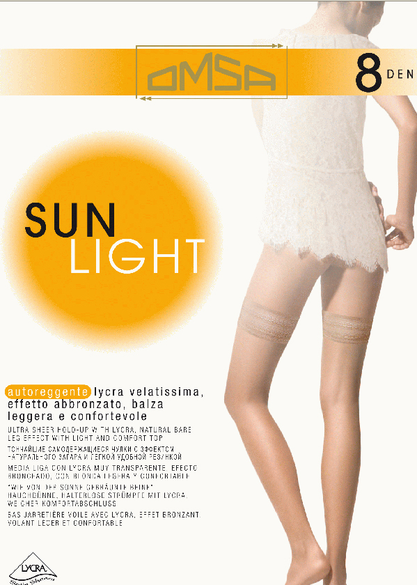 Чулки Omsa Sun Light 8 Aut, цвет: Beige Naturel (телесный). SNL-093994. Размер 3Sun Light 8 AutТончайшие эластичные чулки 8 DEN с кружевной каймой на силиконовой основе и невидимым мыском.