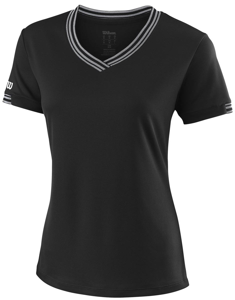 Футболка женская Wilson Team V-Neck, цвет: черный. WRA770002. Размер XS (40/42) футболка женская nor cal black bear v neck purple rush
