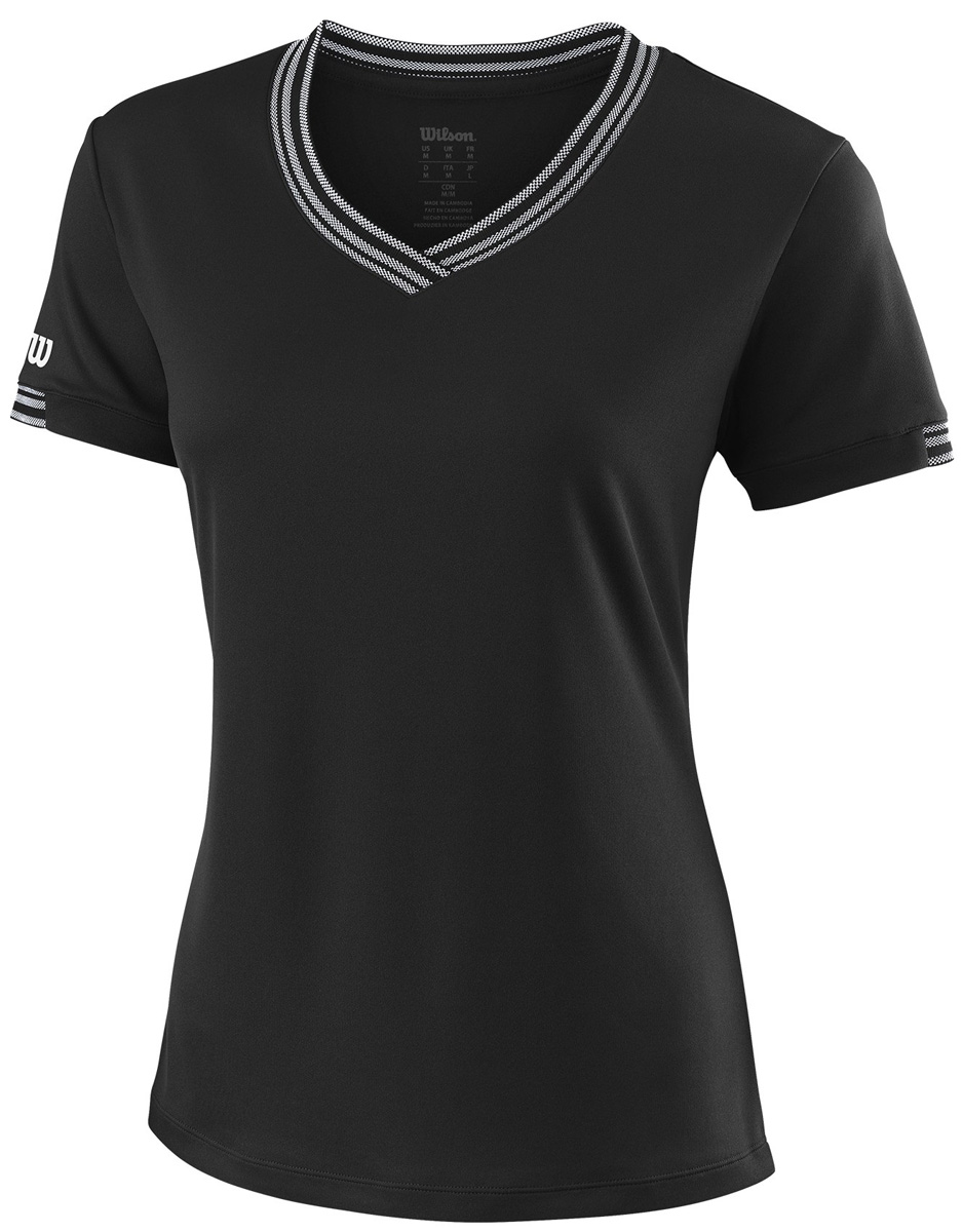 Футболка женская Wilson Team V-Neck, цвет: черный. WRA770002. Размер XS (40/42)