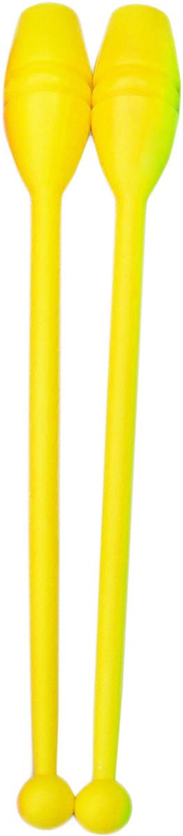 Булава гимнастическая, цвет: желтый, 35 см, 2 штУТ-00007988Сбалансированные булавы, выполненные из прочного пластика, идеально подойдут для занятий художественной гимнастикой. Пластиковые булавы легкие и подходят и для начинающих спортсменок. С ними желательно работать в залах с ковровым покрытием, т.к. жесткий пол может стать причиной раскола булавы при неудачном падении. Особенности подбора булавы: Гимнасткам 5-7 лет подойдут самые маленькие булавы длиной 35 см. В возрасте 8-10 лет спортсменки используют гимнастические булавы длиной 40-41 см. Для более старших девушек подойдут булавы длиной 45 см. Кроме того, при выборе булавы следует учитывать рост самой спортсменки: длина булав не должна быть больше расстояния от центра ладони до плеча гимнастки.