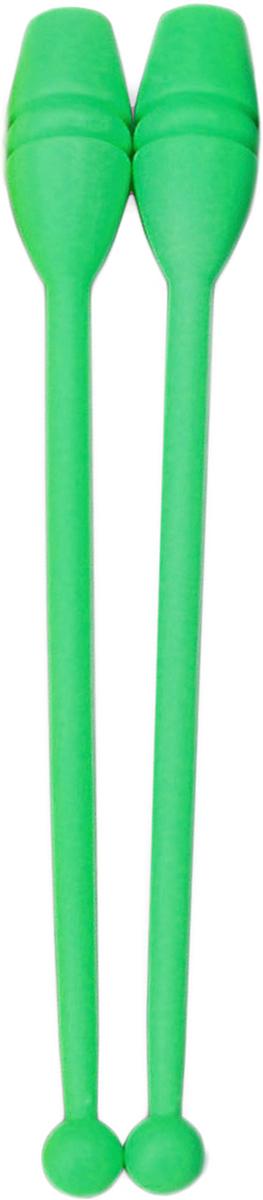Булава гимнастическая, цвет: салатовый, 35 см, 2 шт