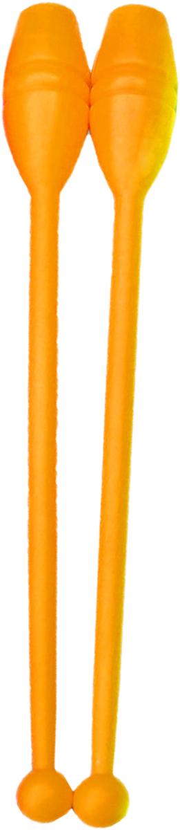 Булава гимнастическая, цвет: оранжевый, 35 см, 2 штУТ-00010078Булава - это отличное приобретение для любителей художественной гимнастики.Современные булавы для художественной гимнастики производятся из пластика или каучука. Пластик - более бюджетный вариант, он подходит и для начинающих спортсменок. Особенность пластиковых булав: с ними желательно работать в залах с ковровым покрытием. Жесткий пол может стать причиной раскола булавы при неудачном падении. Гимнасткам 5-7 лет подойдут самые маленькие булавы длиной 35 см. В возрасте 8-10 лет спортсменки используют гимнастические булавы длиной 40-41 см. Для более старших девушек подойдут булавы длиной 45 см. Кроме того, при выборе булавы следует учитывать рост самой спортсменки. Длина булав не должна быть больше расстояния от центра ладони до плеча гимнастки.Характеристики:Размер: 35 смМатериал: пластмассаЦвет: оранжевый