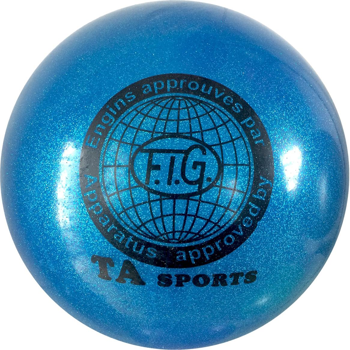 Мяч для художественной гимнастики TA-Sport RGB-102, с блестками, цвет: синий, диаметр 15 см ортопедический мяч для гимнастики в курске