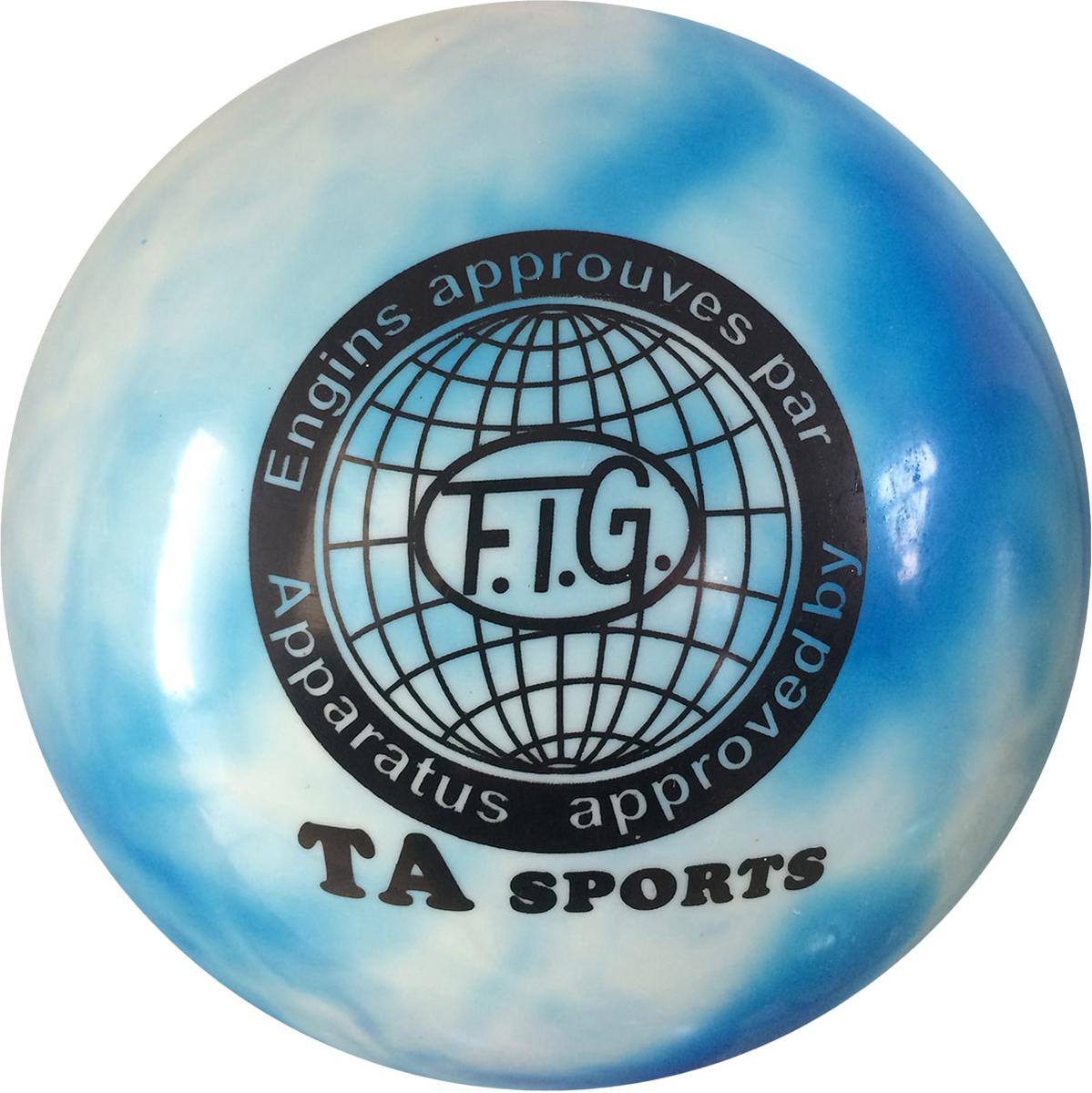 """Мяч для художественной гимнастики TA-Sport """"RGB-101"""", цвет: белый, синий, диаметр 19 см"""