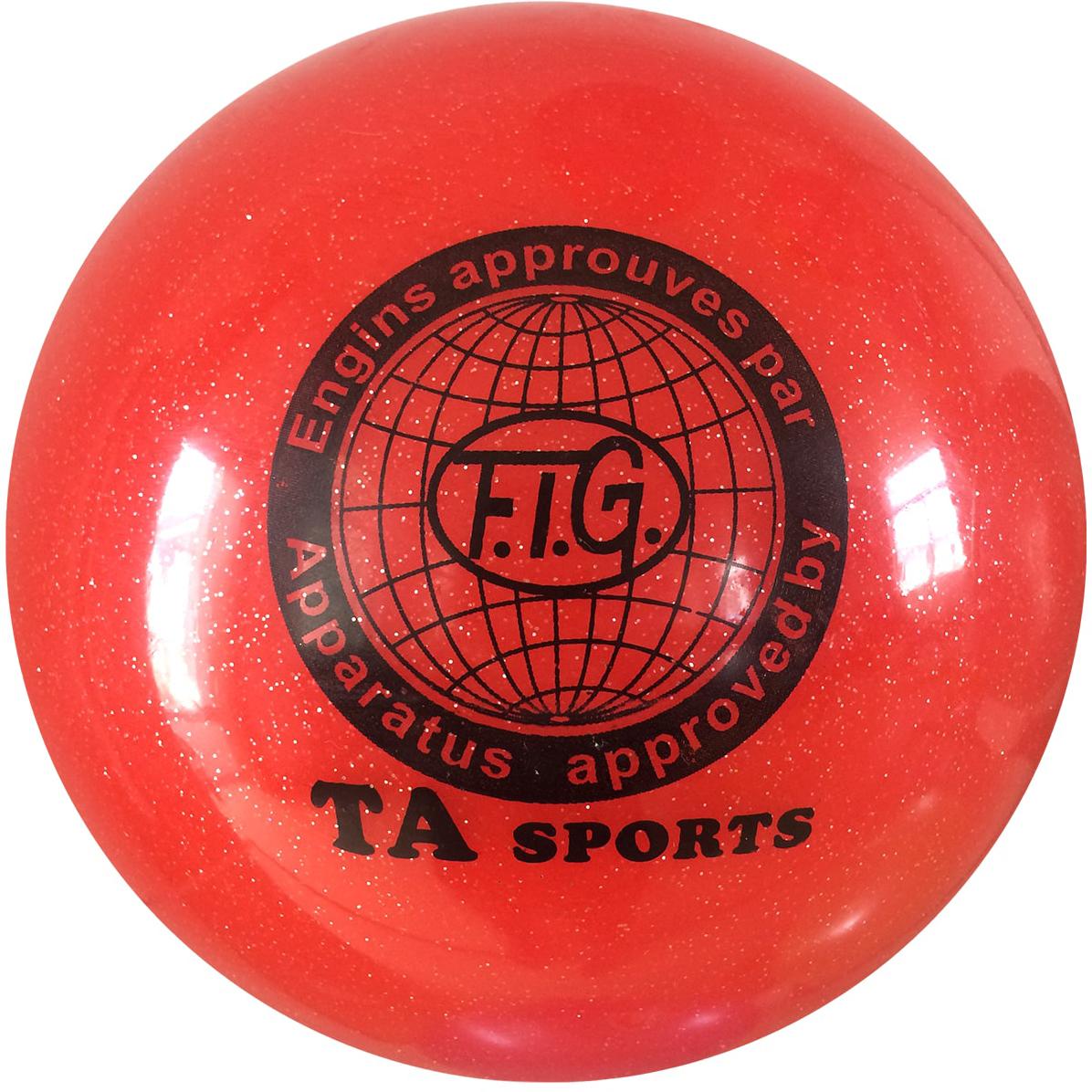 Мяч для художественной гимнастики TA-Sport RGB-102, с блестками, цвет: красный, диаметр 19 см ортопедический мяч для гимнастики в курске