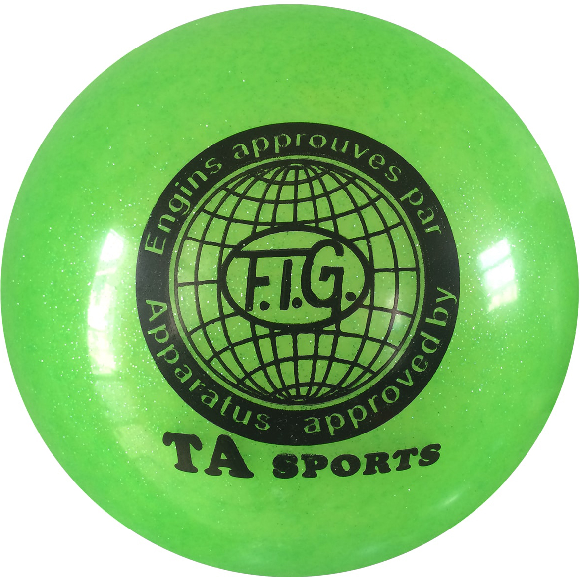 Мяч для художественной гимнастики TA-Sport RGB-102, с блестками, цвет: зеленый, диаметр 19 смУТ-00010340Практичный и надежный мяч для художественной гимнастики от TA-Sport выполнен из прочного ПВХ яркого цвета с блестками. Мяч диаметром 19 см предназначен для спортсменок-юниоров и взрослых гимнасток. Как правило, цвет мяча подбирается под образ и костюм гимнастки.Хранить мяч нужно в чехле, чтобы на нем не появились царапины. Мячи с разноцветным покрытием или с блестками имеют тонкий слой красочного покрытия, требующий бережного отношения. В зимнее время следует использовать утепленный чехол, чтобы мяч не сдувался от перепада температуры. Желательно избегать попадания прямых солнечных лучей.