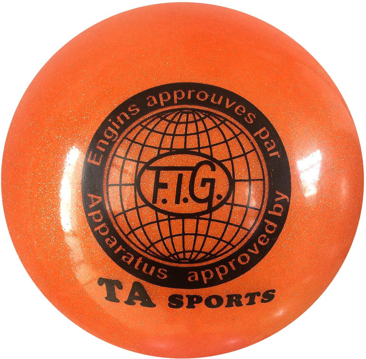 """Мяч для художественной гимнастики TA-Sport """"RGB-102"""", с блестками, цвет: оранжевый, диаметр 19 см"""