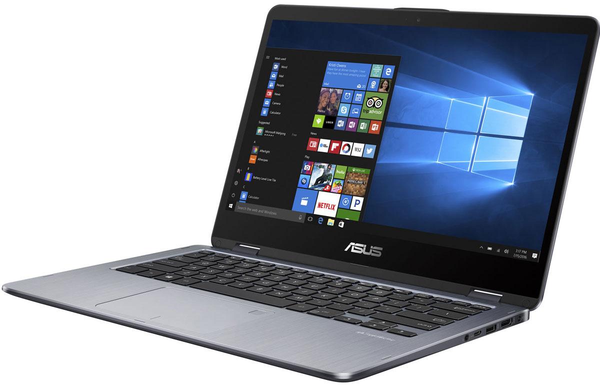 ASUS VivoBook Flip 14 TP410UA, Gray (TP410UA-EC303T)TP410UA-EC303T14-дюймовый ноутбук ASUS VivoBook Flip 14 TP410UA обладает тонким корпусом (толщина 19,2 мм) соткидывающимся на 360 градусов экраном и весит всего 1,6 кг. Он идеально подходит и для работы, и дляразвлечений, а также станет вашим надежным помощником в дороге. Ноутбук обладает металлическойотделкой, которая не только привлекательно выглядит, но и отличается повышенной долговечностью.ASUS VivoBook Flip 14 TP410UA оборудован дисплеем с инновационным механизмом крепления, которыйпозволяет раскрывать ноутбук на 360 градусов и надежно удерживает дисплей точно в заданном положении.Настройте TP410UA согласно своим предпочтениям: для повседневной работы предназначен режим ноутбука,в режиме просмотра удобно демонстрировать мобильные презентации, для просмотра фильмов идеальноподходит режим стенда, а для развлечений устройство мгновенно трансформируется в планшет.ASUS VivoBook Flip 14 TP410UA оснащается мощным и энергоэффективным процессором Intel Core i3 седьмого поколения, а также 8 ГБ оперативной памяти.Операционная система Windows 10 предлагает новый режим работы Continuum, который автоматически меняетрасположение элементов интерфейса Windows в зависимости от того, как используется ноутбук-трансформер.ASUS VivoBook Flip 14 TP410UA оборудован симметричным портом USB Type-C, удобным для подключения USB- периферии. Данный порт стандарта USB 3.1 Gen 1 с пропускной способностью 5 Гбит/с позволяет скопировать 2- гигабайтный фильм на USB-диск всего за 2 секунды! Для совместимости с широким спектром устройств ноутбукоборудован стандартными портами USB 3.0 и USB 2.0, а также разъемом HDMI для подключения внешнегодисплея.Ноутбук TP410UA имеет высококачественный сенсорный экран с разрешением Full HD, обладающим широкимиуглами обзора, поэтому изображение не претерпевает каких-либо искажений цветопередачи при измененииугла, под которым пользователь смотрит на экран.Мультимедийные возможности устройства дополняет разработа
