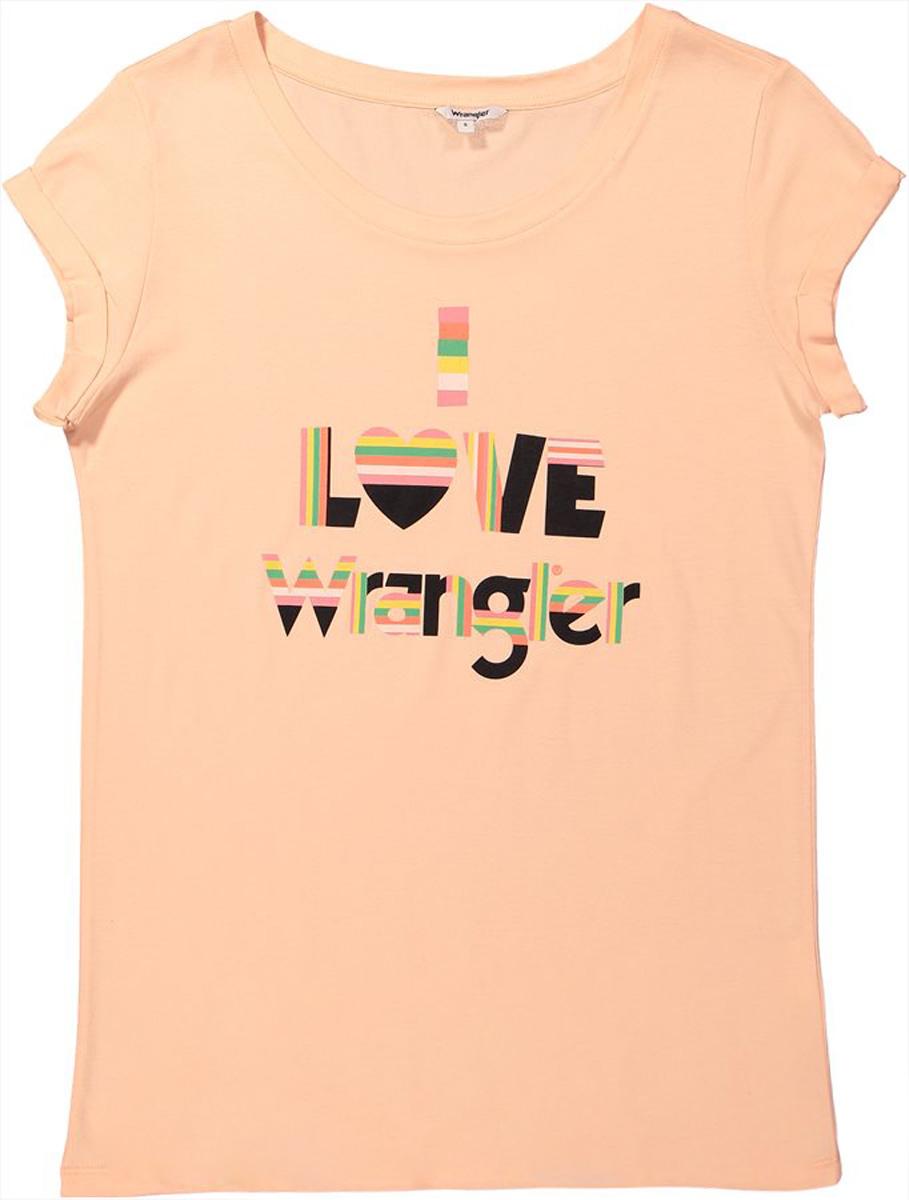 Футболка женская Wrangler, цвет: розовый. W700LF6UD. Размер S (42)W700LF6UDФутболка от Wrangler выполнена из хлопкового материала. Модель с короткими рукавами и круглым вырезом горловины на груди оформлена принтованной надписью.
