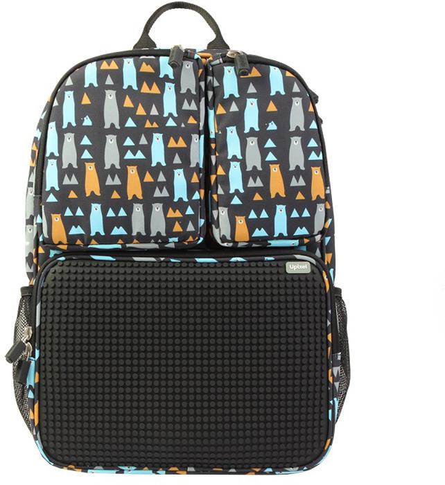 Upixel Детский рюкзак Joyful Kiddo цвет черный80858Детский рюкзак из нейлона с эргономичной спинкой. Упрощенный школьный вариант. Внутри имеется одно объемное отделение под учебники и теради, с сетчатым карманом на молнии для ручек и карандашей, и обычным карманом по внутренней спинке. Снаружи оснащен сетчатыми карманами под термос и бутылочку, а так же тремя дополнительными карманми на молниях, на одном из которых расположена панель из пищевого силикона, рассчитанной под маленькие пиксели общим количеством свыше 1000 маленьких пикселей. В комплекте: маленькие пиксели (фишки) разноцветные, 120 шт. Фирменный буклет с возможными вариантами изображений