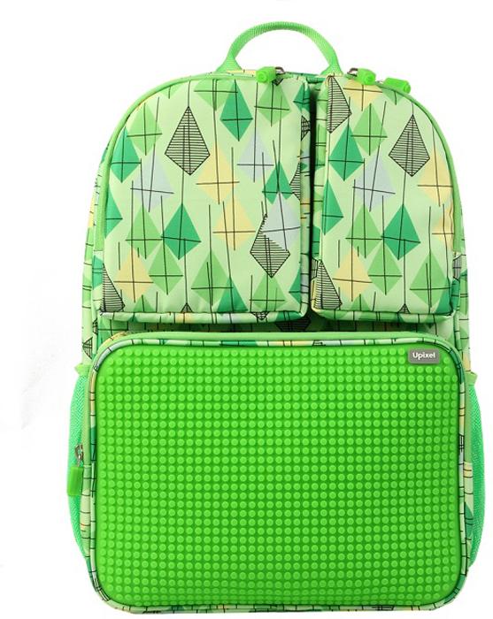 Upixel Детский рюкзак Joyful Kiddo цвет зеленый80859Детский рюкзак из нейлона с эргономичной спинкой. Упрощенный школьный вариант. Внутри имеется одно объемное отделение под учебники и теради, с сетчатым карманом на молнии для ручек и карандашей, и обычным карманом по внутренней спинке. Снаружи оснащен сетчатыми карманами под термос и бутылочку, а так же тремя дополнительными карманми на молниях, на одном из которых расположена панель из пищевого силикона, рассчитанной под маленькие пиксели общим количеством свыше 1000 маленьких пикселей. В комплекте: маленькие пиксели (фишки) разноцветные, 120 шт. Фирменный буклет с возможными вариантами изображений