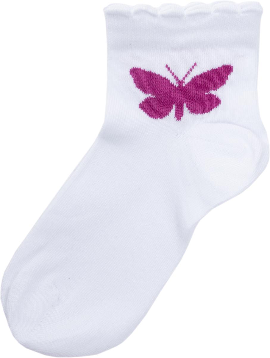 Носки для девочки PlayToday, цвет: белый, лиловый, 2 пары. 182172. Размер 18182172Мягкие носки от PlayToday выполнены из натуральных материалов. Хорошо пропускают воздух, позволяя коже дышать, декорированы жаккардовым рисунком.В комплекте 2 пары носков.