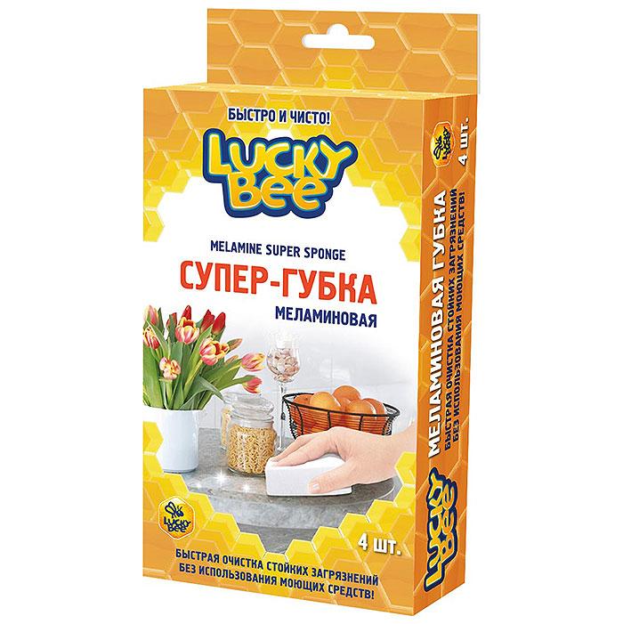 Губка для уборки Lucky Bee Супер-губка, меламиновая, 4 шт губка меламиновая фэйт бэлла цвет белый 2 шт