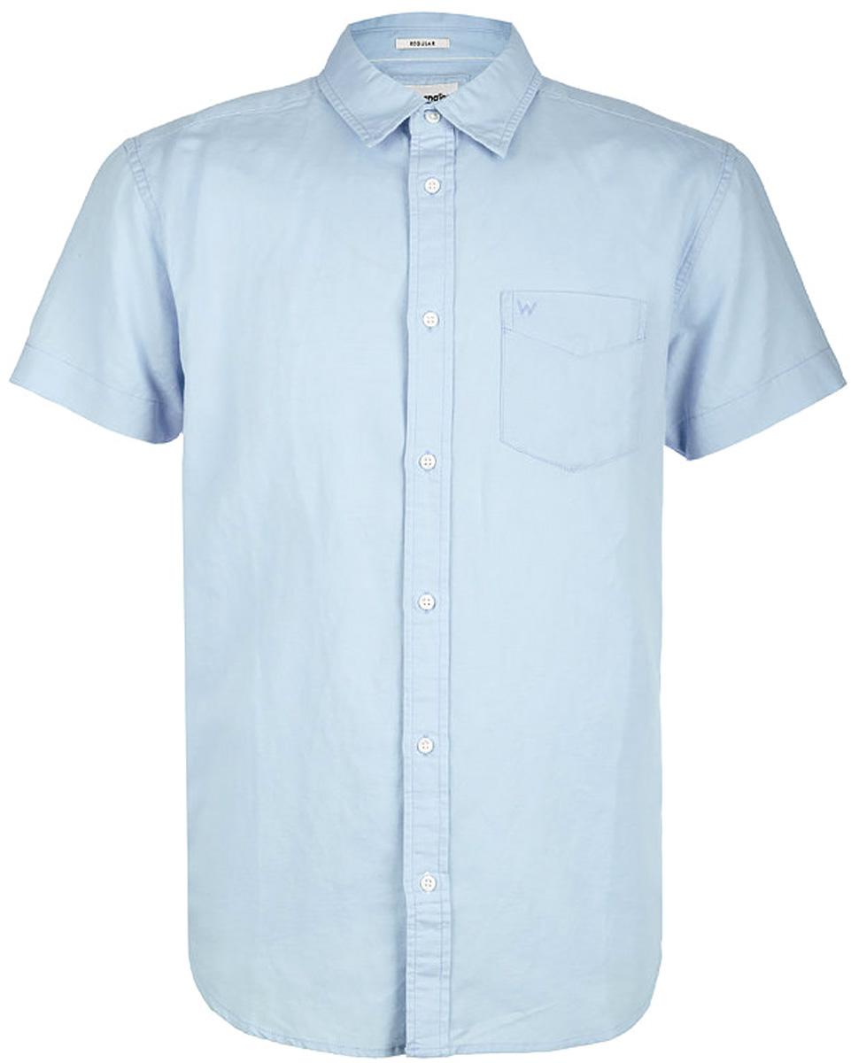 Рубашка мужская Wrangler, цвет: голубой. W5860LOUV. Размер 3XL (56)W5860LOUVРубашка от Wrangler выполнена из хлопкового материала. Модель с короткими рукавами и отложным воротником застегивается на пуговицы, на груди дополнена накладным карманом.