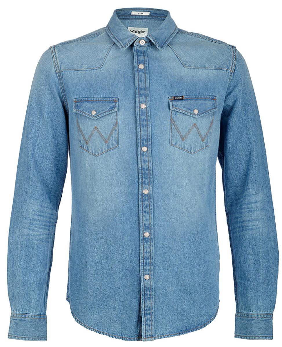 Рубашка мужская Wrangler, цвет: синий. W5983LW4E. Размер S (46)W5983LW4E