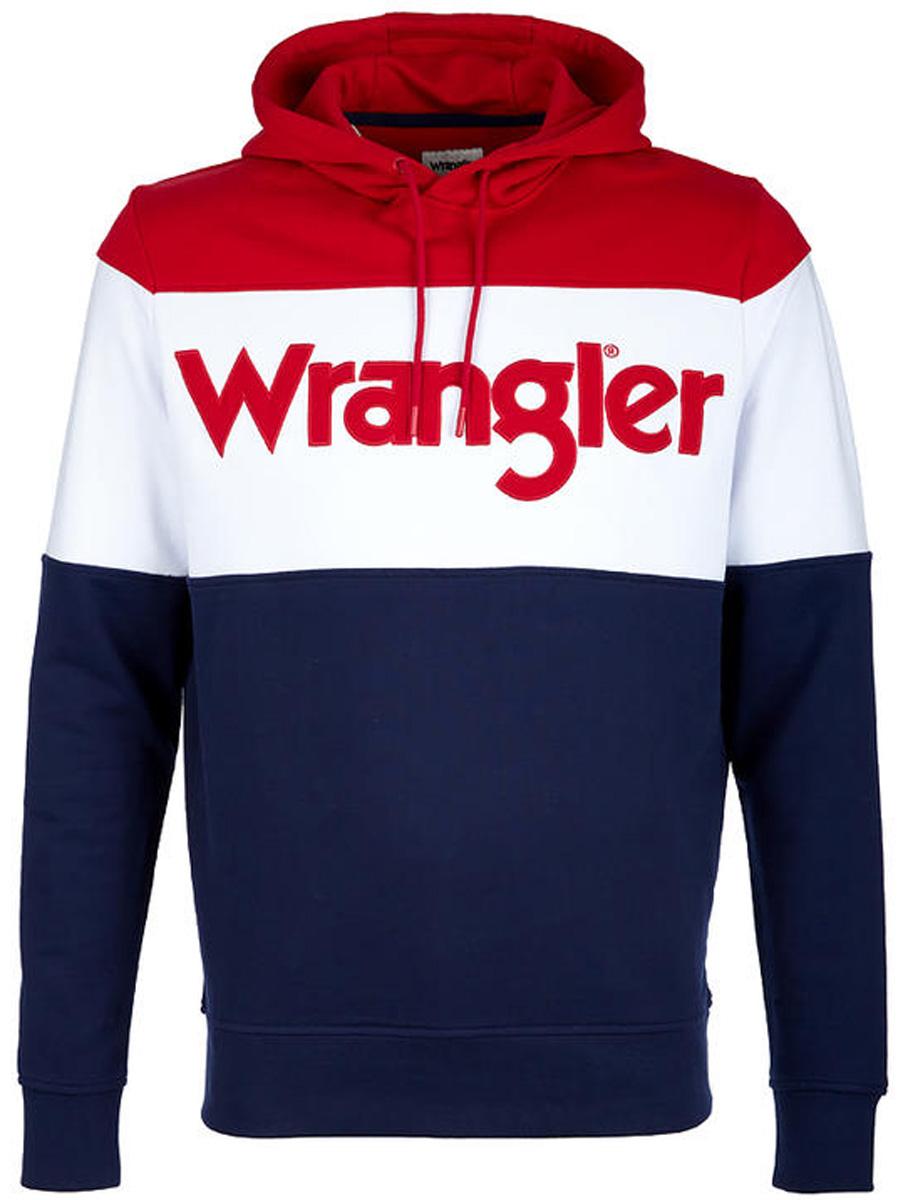 Толстовка мужская Wrangler, цвет: красный, белый, синий. W6550HP49. Размер M (48)W6550HP49Толстовка от Wrangler выполнена из натурального хлопкового материала. Модель с длинными рукавами и капюшоном на груди оформлена надписью с логотипом бренда.