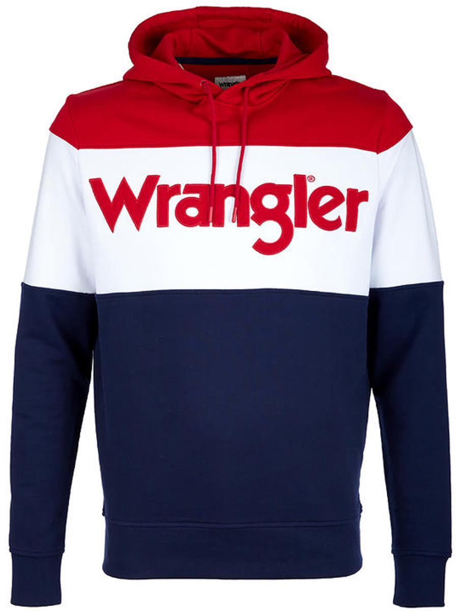 Толстовка мужская Wrangler, цвет: красный, белый, синий. W6550HP49. Размер S (46)W6550HP49