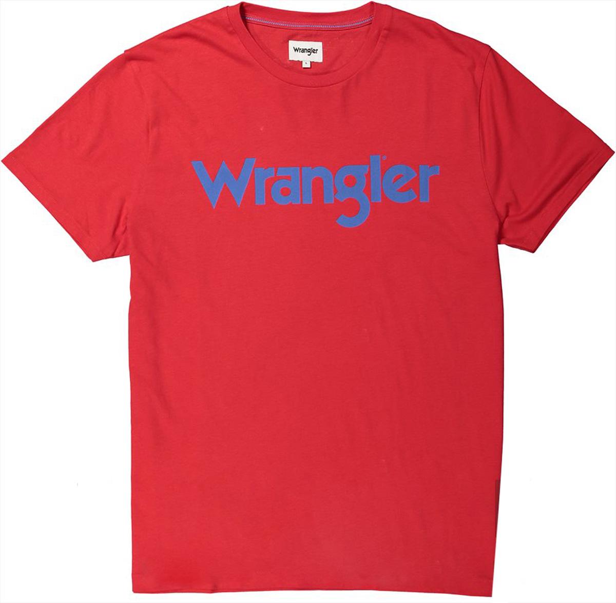 Футболка мужская Wrangler, цвет: красный. W7A86D374. Размер M (48)W7A86D374Футболка от Wrangler выполнена из натурального хлопкового материала. Модель с короткими рукавами и круглым вырезом горловины на груди оформлена надписью.