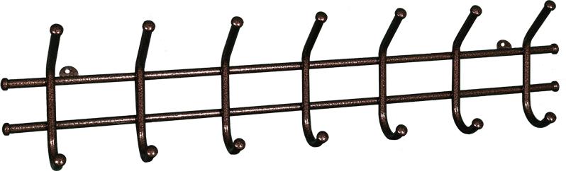Вешалка настенная ЗМИ Норма, 7 крючков, цвет: медный, 70,5 х 8 х 16,8 смВН 66 МВешалка настенная ЗМИ Норма 7 предназначена для размещения одежды в любых помещениях - дом, офис, общепит и т.п. Вешалка выполнена из стальной трубы диаметром 10 мм; стальные колпачки; полимерно-порошковое покрытие Отличительные особенности:- надежная сварная конструкция - функциональная вешалка с 7-ю крючками - классическая форма. В конструкцию входят 7 крючков с металлическими колпачками и петельками для крепления. Металлическая вешалка функциональна, надежна и проста в уходе. Данное изделие полностью безопасно в использовании. Конструкция: цельносварнаяВ собранном виде - 705 х 80 х 165 мм В упакованном виде- 705 х 80 х 165 мм